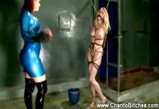 dominatrix loves to spank subs breasts