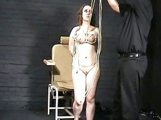 Tit hanging and breast whipping