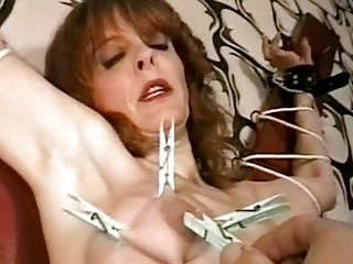 Mature slave punished with clothespins