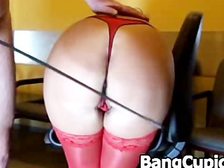 Babe gets booty spanked and doggystyled