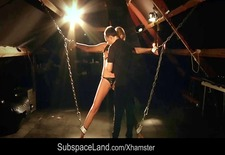 Leashed in chains slave suck cock after bdsm spank