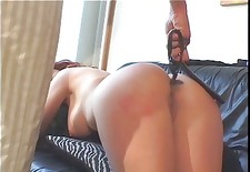 big tits redhead spanked by a smoking hot brunette