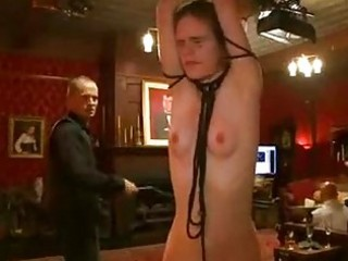 Tied up babe hard whipped in the upper floor