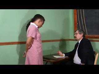 Naughty schoolgirl Amanda has to drop her panties and get spanked