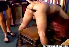 babe in lingerie spanks his man