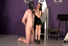mistress is spanking her kinky subject
