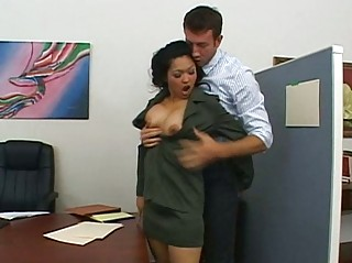 Lovely busty brunette boss gets spanked and licked