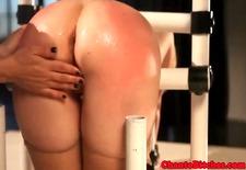 lezdom mistress spanking her subs feet