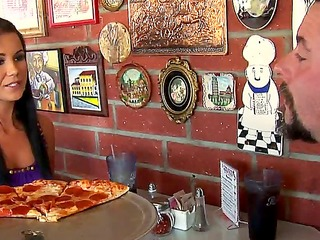 tanner was just hanging out at the local pizza parlor, heating up some pies and chatting with an old fella when he whipped out his dirty cock. and you know what she sucked it.