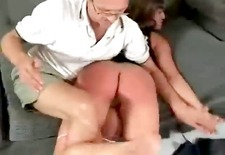 sexy brunette girl gets spanked