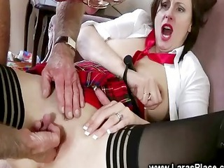 mature lady gets spanked by hard old men