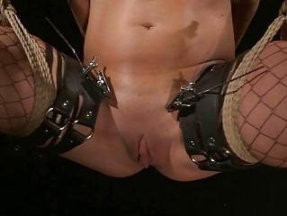 Hot brunette getting bondaged and punished