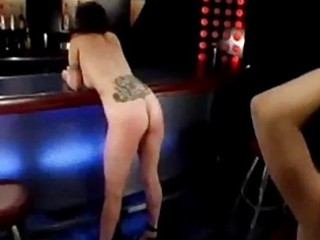 Busty girl spanked whipped by mistress in the bar