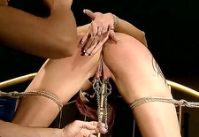 wanna look at nasty enslaved woman patricia gold getting punished for bad behavior then watch this action where she gets metallic clamps on pussy before being caned.