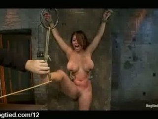 Bound standing spread Asian flogged and caned