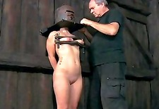Slave gets ass whipping before pussy torturing