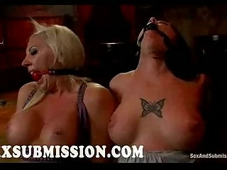 Busty babes gets whipped