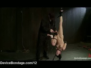 Suspended upside down bound babe caned and vibed