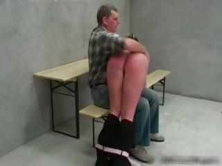 Nasty blond Nicky gets her booty spanked part1