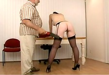 cute wench with black hair and worthwhile mambos in garter thong acquires spanked hard