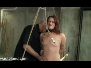 Wasteland David Lawrence Ties Up submissive Ten, Clamps Nipples and Whips