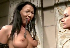 brunette sweet babe chanel, gets tied up by her cruel blonde mistress as she whips and licks her