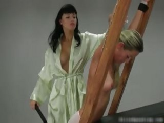 Cute and sexy blond chick gets whip
