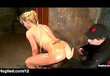 busty bound blonde clit vibed and ass caned