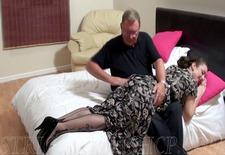 milf wearing nylons gets spanked