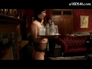 Slave Girl In Stockings Nipples Clips Holding Plates Getting Dong To Pussy Spanked In Front Of Rich People In The Saloon