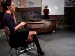 Naughty schoolgirl spanked by lezdom teacher