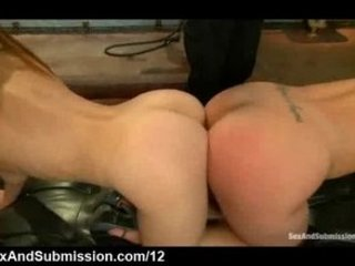 Big ass babes on their knees flogged by master