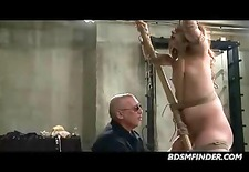 bound and getting a caning