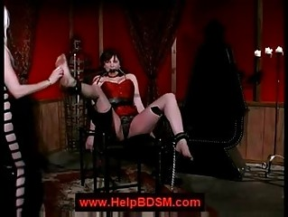 Lezdom foot spanking
