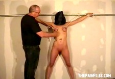 busty bondage babe danii black tit tortured and whipped in the dungeon with hard