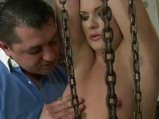 Girl getting punished in garage
