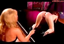 redhead girl whipped getting her pussy stimulated with vibrator licking mistress pussy in the dungeon