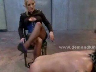 Blonde mistress spanking strong man sex slave in bondage sadomaso