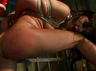 Sexy brunette gets tied up and punished hard