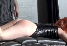 Spanking of Tiny amateur slavegirl in leather dungeon fetish and corporal