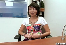 this is the video that you will love the most. asian model coco velvett is showing off her round ass which is made for spanking, and shes doing it in the office.