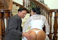 hot monica is awesome! looking at her your dick becomes hard and burning with desire to feel her wet pussy. horny taxi driver seduces her and spanks her round ass!