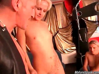two sexy and horny blonde ripe sluts are getting spanked,
