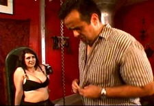 Mistress spanks and steps on daddy
