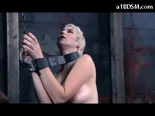Tattoed Girl Tied On Her Knees Squirting While Stimulated With Vibrator Cleaning The Floor Blindfolded Spanked With Stick Sucking Cock In The Dungeon