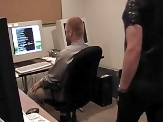 gimp boy shadow rams his cock into office workers mouth