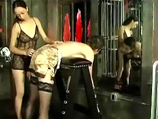 Girl In Stockings Bending To Bench Spanked By 2 Girls In The Dungeon