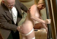 pretty maid angela attison was caught by her boss mark davis masturbating by vibrator lying on his bed. he decided to give her discipline lesson and now spanks butt of the slut.