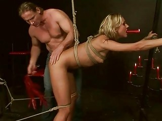 Blonde being tied and punished hard