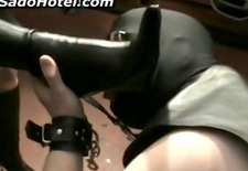 Slave licking and sucking leather boots of horny latex mistress